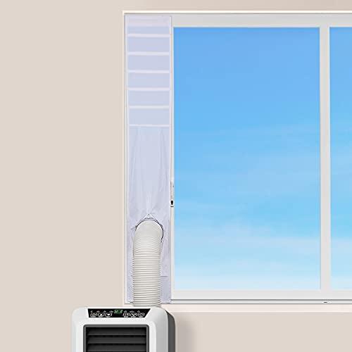 BROSYDA Sello de Ventana para Aire Acondicionado Portátil, Kit de Ventilación de Ventana, 25x102~152cm Longitud Ajustable, Sin Perforación Fácil de Instalar, Kit de Manguera para Secadora