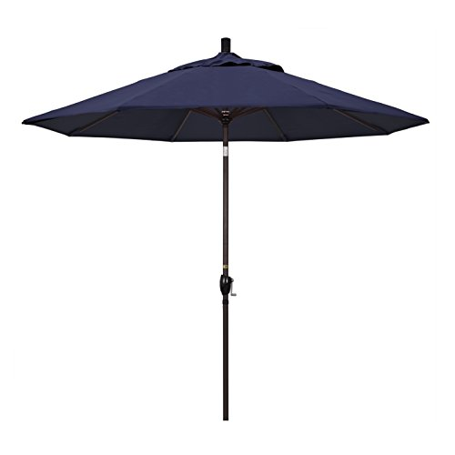 California Umbrella GSPT908117-5439 9' Round Aluminum Market, Crank Lift, Push Button Tilt, Bronze Pole, Sunbrella Navy Patio Umbrella, 9-Feet
