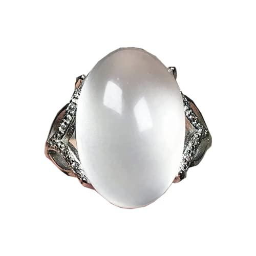 Anillo de piedra lunar natural arco iris piedra piedra de luna joyería para mujeres hombre suerte cristal oval 17x11mm cuentas anillo ajustable AAAAA
