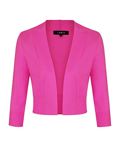 MINTLIMIT Women's Casual Open Front Knit Cropped Bolero Shrug 3/4 Sleeve Cardigan Sweater (Hot Pink,Size XL)