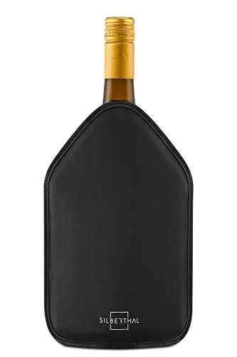 SILBERTHAL Enfriador Botellas Vino Ajustable | Funda enfriadora Botellas Vino de Gel | Funda enfriadora Botellas Antideslizante y elástica | Enfriador Botellas Cava Negro