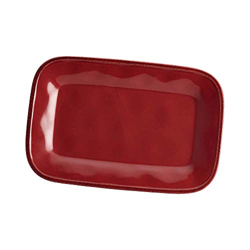 Dinnerware 8-Inch x 12-Inch Stoneware Rectangular Platter, Cranberry Red, Product Dimensions: 13 x 9 x 1.25 inches