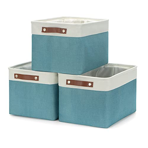 """HNZIGE Storage Baskets Bins (3 Pack) Large Shelf Baskets for Clothes, Decorative Storage Bins with Handles, Canvas Collapsible Storage Bins for Organizing Living Room Perfect Storage Organizer (Gray&Teal, 15"""" X 11"""" X 9.5"""")"""