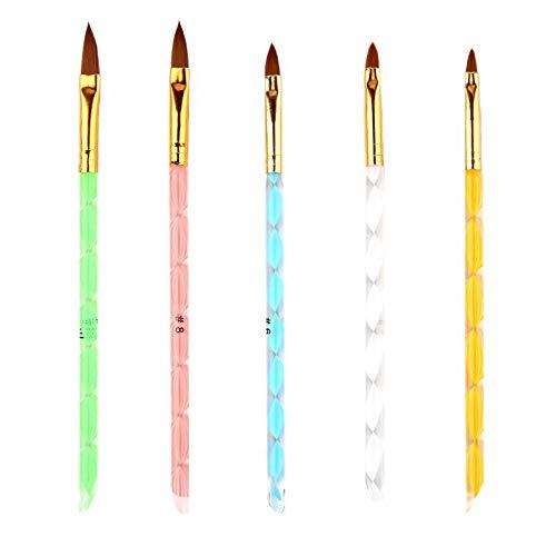 Nrpfell 5 StüCk Nagel Kunst Pinsel Werkzeuge Set Acryl UV Gel Meister Malerei Zeichen BüRsten Stifte Nagel Haut Schieber Werkzeug Nagel BüRste