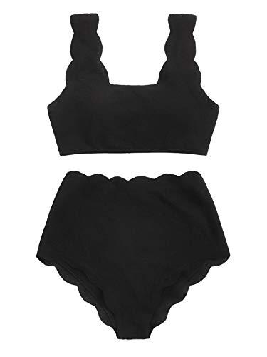 SweatyRocks Women's 2 Pieces Swimsuit High Waist Scalloped Trim Lace Up Bikini Set, Black, Medium