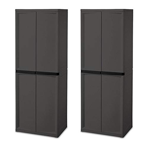 Sterilite Adjustable 4-Shelf Gray Storage Cabinet with Doors, 2 Pack | 01423V01