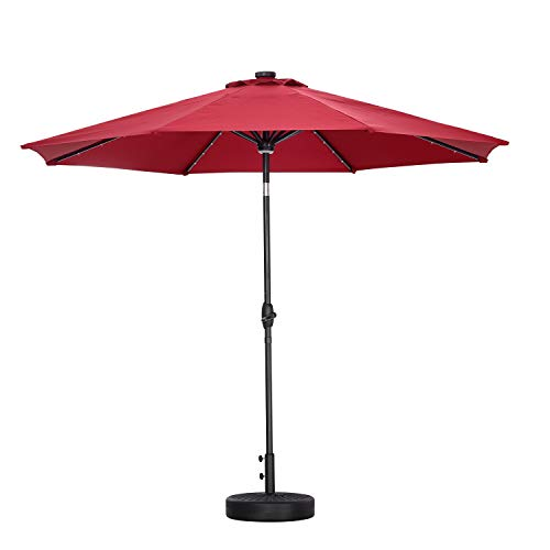 GDY 10Ft Patio Umbrella Solar Powered 40 LED Lighted Aluminum OutdoorTable Market Umbrella with Tilt and Crank (Charming Red with Base)