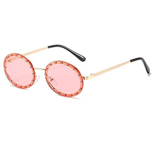 LUOXUEFEI Gafas De Sol Gafas De Sol Redondas Sin Montura Para Mujer, Gafas De Sol Rosa Y Negro, Sombras Femeninas