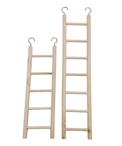 LWINGFLYER 2pcs Wooden Ladder for Bird Parrot Ladder Climbing Toy Birdie Basics (5 Step & 7 Step)