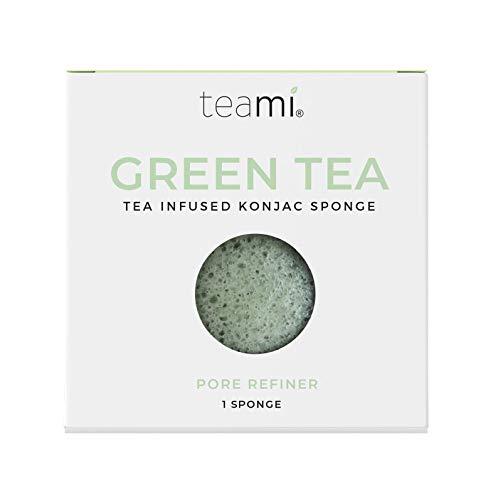 Teami Exfoliating Konjac Facial Sponge - Cleansing Pore Refining Face Sponges (Green Tea)