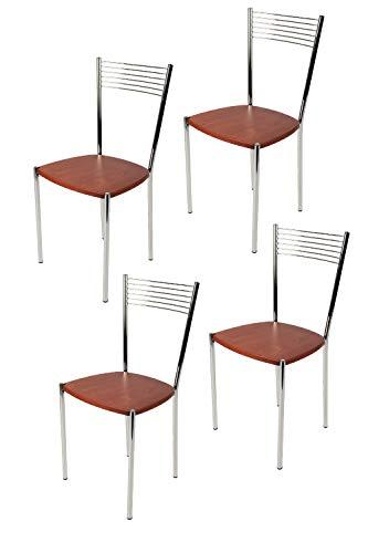Tommychairs - Set 4 sillas Elegance para Cocina, Comedor, Bar y Restaurante, Estructura en Acero Cromado y Asiento en Madera Color Cerezo