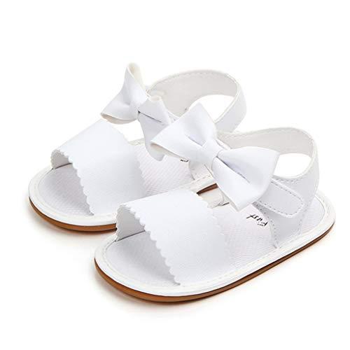 Carolilly Sandalen für Babys, Mädchen, erste Schritte, Bowknot für Taufe und Baby, rutschfest., Weiß - Bianco - Größe: 12-18 mesi