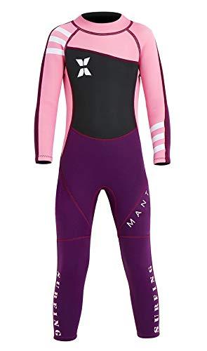 DIVE&SAIL Mädchen Badeanzug aus 2.5MM Neopren Langarm Wärmehaltung Neoprenanzug Bonbons Tauchanzug mit Plastikreißverschluss UV-Schutz Schwimmanzug Wetsuit Rosa - Größe S
