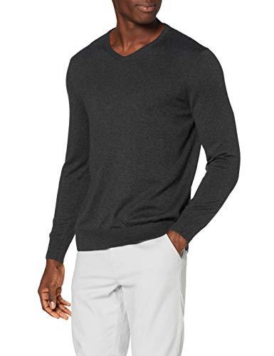 Marchio Amazon - MERAKI Pullover Cotone Uomo Scollo a V, Grigio (Charcoal), 3XL, Label: 3XL