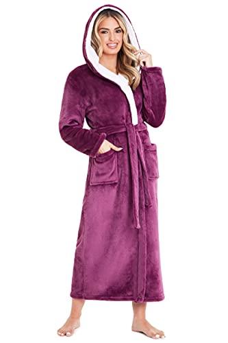 CityComfort Bademantel Damen Flauschig, Morgenmantel Damen, Fleece Bademäntel für Damen, S-XL (L, Magenta)