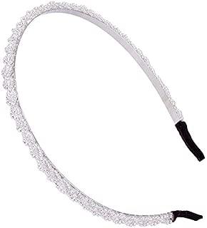 1Pc Crystal Beaded Hoop Tiara Girl Headband For Women Bridal Accessories Princess Non-Slip Hair Hoops White