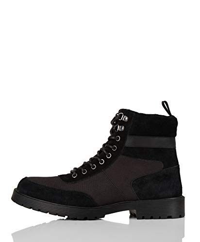 Marca Amazon - find. #_ Foxx Botas Estilo Motero, Negro (Black), 42 EU