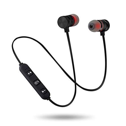 5.0 Oortelefoon Sport nekband Magnetische muziek Metalen koptelefoon met microfoon Headset Zwart