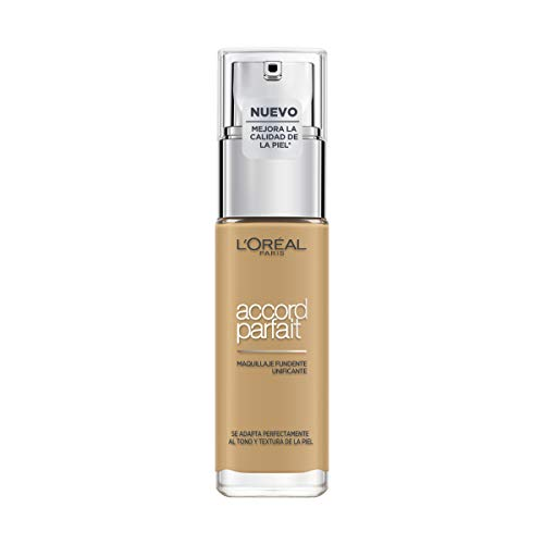L'Oréal Paris Accord Parfait, Base de maquillaje acabado natural con ácido hialurónico, tono piel medio-oscuro 6D, 30 ml