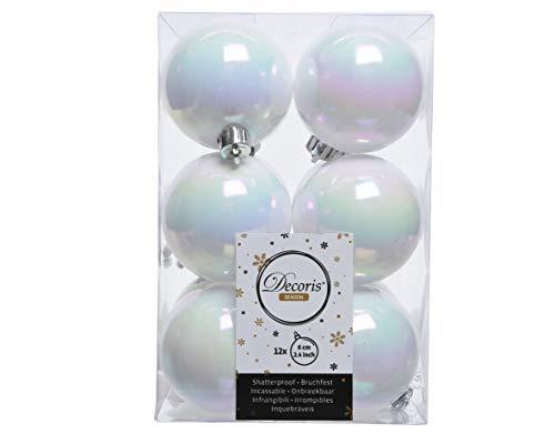 Decoris 12 Weihnachtskugeln Kunststoff 6cm Weiß Irisierend // Bruchsichere Kugeln, Weiß irisierend, Pack of 12 x 60mm