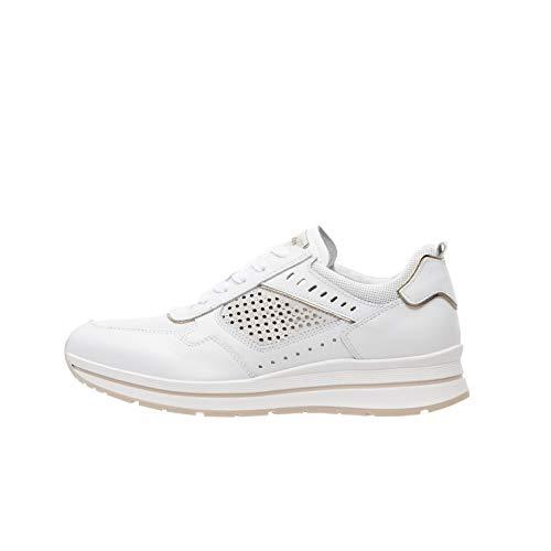 Nero Giardini P907542D Sneakers Donna in Pelle, Camoscio E Tela - Bianco 37 EU