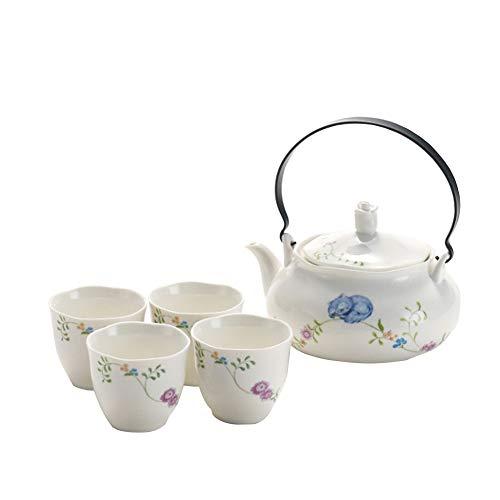 Juego de té japonés clásico de cerámica blanca con patrón de montaña, tetera y 4 tazas de té Flor.