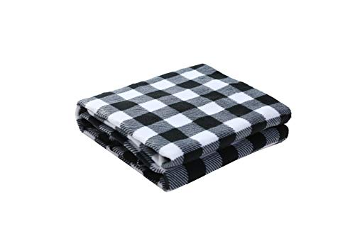 DIDIBABA 12V Car Heated Electric Travel Blanket 57'x39' Electric Fleece Throw White/Black (Black and White)