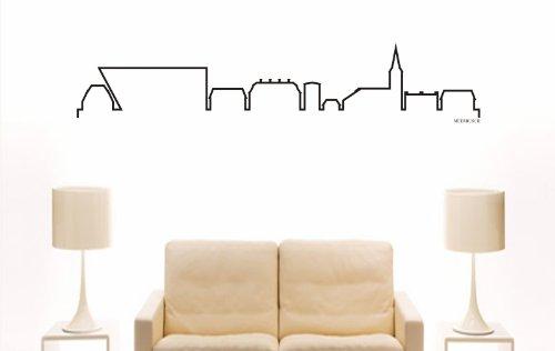 INDIGOS UG - Wandtattoo Wandsticker Wandaufkleber Aufkleber - Wandaufkleber e836 Skyline Stadt - Meerbusch (Deutschland) Design 4-180x35 cm - schwarz - Dekoration Küche Bad Büro Hotel