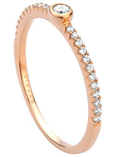 Esprit ESRG00831217 Blaze - Anillo para mujer (16,9 mm, talla 53), color plateado y rosa