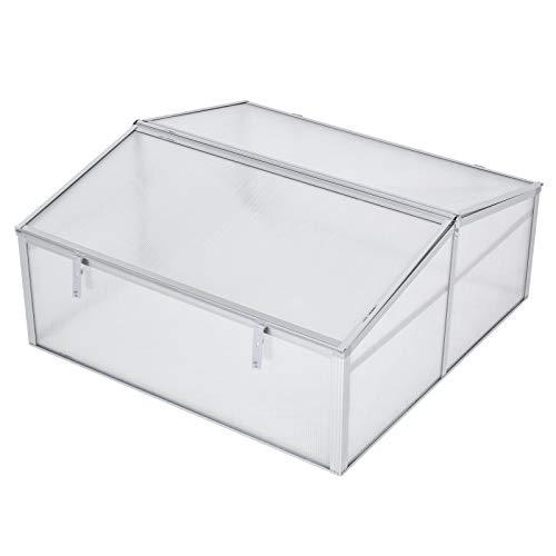 "Outsunny 39"" Aluminum Vented Cold Frame Mini Greenhouse Kit - Silver/Transparent"