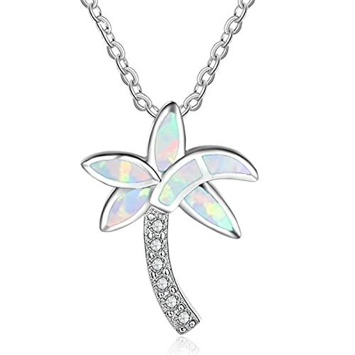 Collar Pendiente Del Árbol De Coco Del Diamante Blanco Del Ópalo Azul De Cuatro Puntas Del Nuevo Producto