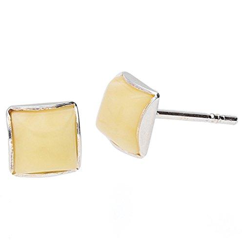 Crem ambra baltica orecchini a perno in argento Sterling 925, 5mm.kab-6