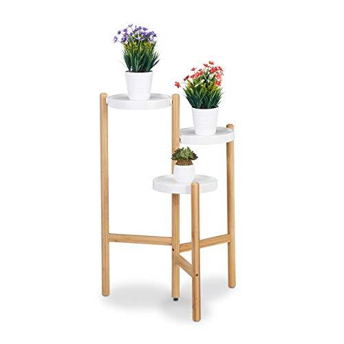 Relaxdays Blumentreppe, 3-stufig, runde Ablagen, für innen, Metall & Bambus, Blumenständer, HBT 78x53x45 cm, natur/weiß