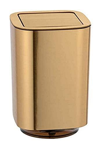 WENKO Cubo con tapa oscilante Auron oro Capacidad: 5.5 l, Plástico, 17.2 x 25.5 x 17.2 cm, Oro