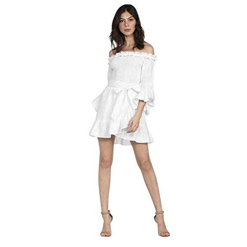 NPRADLA 2020 Herbst Winter Damen Kleider Elegant Frauen Manteltee Einfarbig V-Ausschnitt Spitze Patchwork Langarm Rückenfrei Party Verband Mini