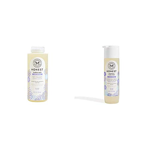 The Honest Company Truly Calming Lavender Bubble Bath, 12 fl. oz. and The Honest Company Truly Calming Lavender Shampoo + Body Wash, 10 Fl Oz (Pack of 1)