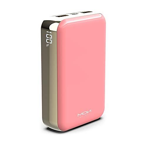 Powerbank 20000mAh Power Bank, USB C Batteria Esterna con 2 Uscite USB per Smartphone e Tablet (Rosa)