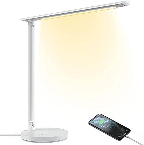Lámpara Escritorio Potente Feob Flexo LED Escritorio 23W Lampara de Mesa Regulable con 7 Niveles de Brillo & 4 Modos(Blanco Cálido y el Blanco Luz Diurna), Puerto USB, Función Memoria, Control Táctil