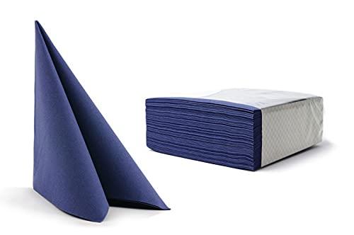 100 toallas desechables para invitados de lino, servilletas, papel de mano, para bodas, restaurante, cocina, fiestas, 40 cm x 40 cm, paquete de 100 unidades (azul oscuro)