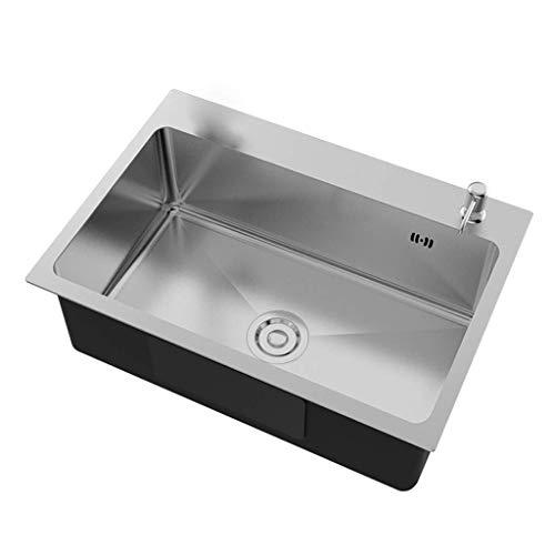 LVGJX Lavello da Cucina Lavello a Una Fessura per Installazione sottotop Topmount da Incasso, lavello da Cucina in Acciaio Inossidabile a Vasca Singola con Set di rubinetti