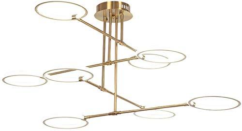 LED plafondlamp 24 Watt 8 lampen instelbare lamphoek metalen kroonluchter acryl lampenkap koper kleur plafondlamp woonkamer hotel decoratieve lamp, warm licht