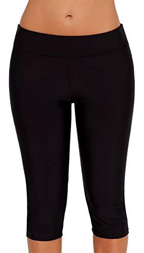 Ocean Plus Damen UV Schutz Schwarz Knielang Schwimmshorts 3/4 Beine Bikinihose Badehose große Größen Schwimm Leggings Strandmode (XL (EU 40-42), Black)