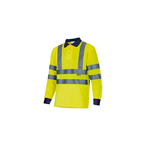 VELILLA 305503 / Polo bicolore a maniche lunghe, alta visibilità. Alto Giallo/Basso Blu navy L