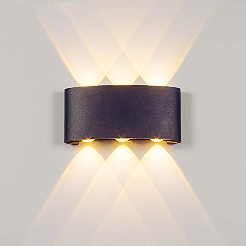 ERWEY 12W LED Wandleuchte Wasserdicht Innen Außen Wandlampe 6 LED Warmweiß Wanlicht Up & Down IP65 LED Wandbeleuchtung Aus Aluminium 120° Ausstrahlungswinkel Schwarz
