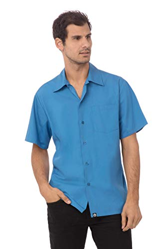 Chef Works Men's Universal Shirt, Blue, 2X-Large