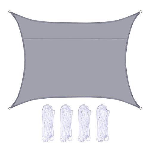 Atrusu Toldo rectangular de protección solar, toldo impermeable al aire libre, toldo de protección UV con 4 cuerdas para exteriores, jardín, patio, balcón, fiesta (gris, 2 x 3 m)