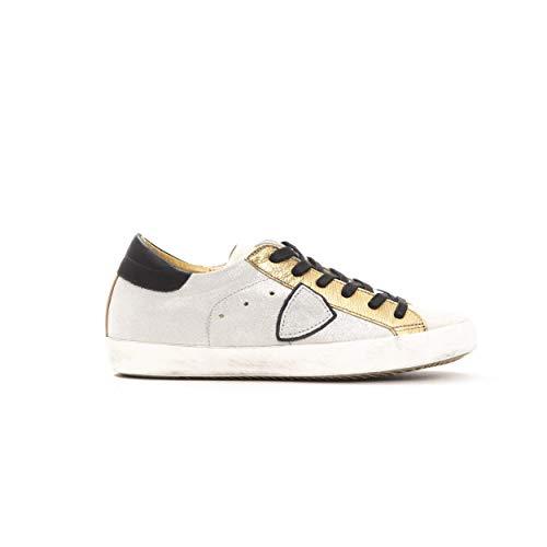 Philippe Model Sneakers Paris L DMIXAGE Grigia Scarpa 100% Pelle Made in Italy Donna CLLDXY41 (Oro, Numeric_38)