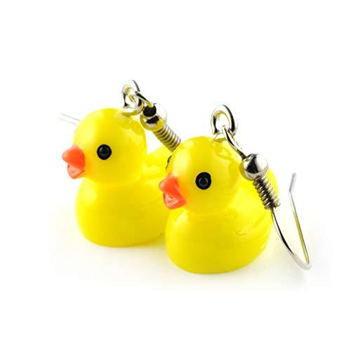 SCHMUCKZUCKER Damen Ohrhänger Quietsche-Ente witzige Edelstahl Ohrringe Silber Gelb Kleine Ente (1,5cm)