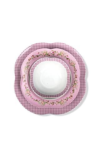 ARYILDIZ Orient Flower Pink - Juego de vajilla (24 piezas), color rosa