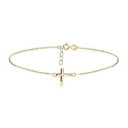Hoops & Loops Flash Yellow Gold Tone Sterling Silver Cross Chain Anklet